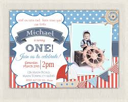 First Birthday Invitation Cards For Boys Boys Nautical Theme 1st Birthday Invitation Printable