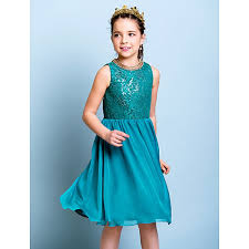 knee length chiffon sequined junior bridesmaid dress jade a