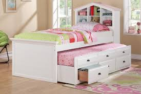 white twin bed with storage bookcase headboard stained hardwood