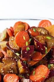 honey sesame roasted sweet potato and carrots leelalicious