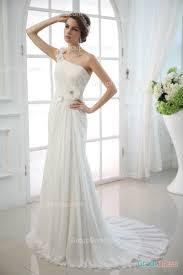 one shoulder 3d flower lace applique long chiffon wedding dress