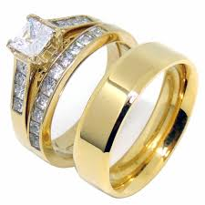 couples rings set images Couples ring set 14k gold plated 5mm princess cz wedding ring mens jpg
