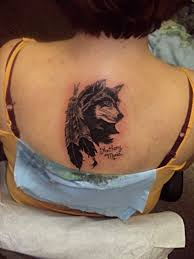 collection of 25 moon wolf and feather tattoos on biceps