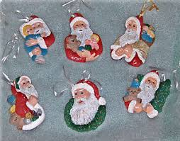 plaster craft santa claus hand painted christmas ornaments lot