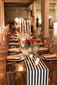 candle runners modern glam wedding at front and palmer protea centerpiece gold