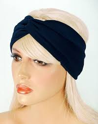 wide headband navy blue turban twist wide headband hair wrap for work out