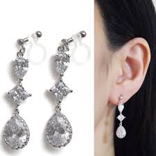 clip on bridal earrings bridal clip on earrings wedding cubic zirconia invisible clip clip