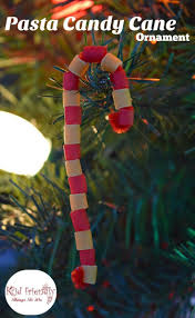 pasta candy cane ornament craft for kids at christmas candy