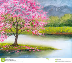 watercolor landscape flowering pink tree by lake stock
