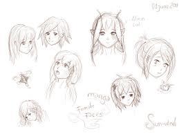 female manga faces by sun wind on deviantart