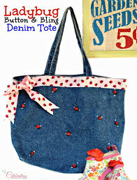 ladybug ribbon ladybug button bling denim tote miss celebration
