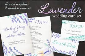 lavender wedding card set invitation templates creative market