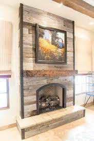 tobacco barn grey fireplace wood wall w steel trim porter barn wood