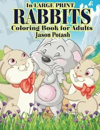 amazon rabbits coloring book adults large print