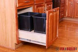 kitchen cabinet trash pull out diy pull out trash can fixthisbuildthat