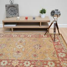 Wool Indian Rugs Taj Indian Agra Rugs Hand Knotted Pure Wool In Gold Rust Free