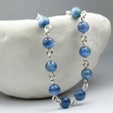 Handcrafted Handmade Semiprecious Gemstone Beaded Kyanite Throat Chakra Stone Bracelet Truth Clarity Well Being