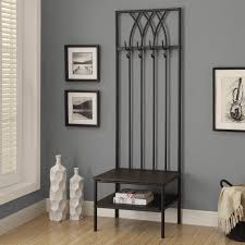 entrance bench seat for shoes entryway coat rack and pictures on