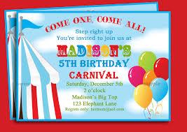 free printable carnival birthday party invitations drevio