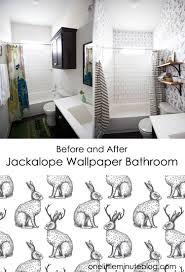 Brilliant Wallpaper In The Bathroom Jackalope Wallpaper Bathroom Diy Smooth Textured Walls