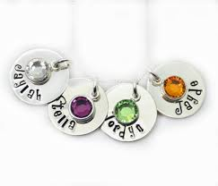 Children S Birthstone Necklace Personalized Birthstone Necklace Hand Stamped Mothers Gift Kids