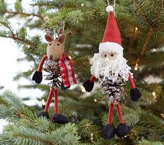 santa reindeer pinecone ornaments pottery barn