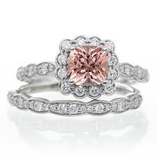 morganite bridal set 2 carat princess cut morganite and diamond wedding ring set on 10k