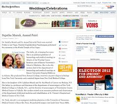 new york times wedding announcement sujatha and anand s wedding announcement in the new york times