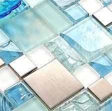 Blue Tile Backsplash Amazoncom - Blue backsplash