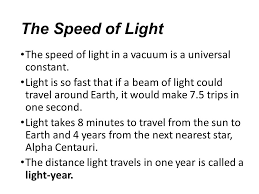 Speed Of Light Constant Speed Of Light Chapter 27 2 Notes The Speed Of Light It Was Not
