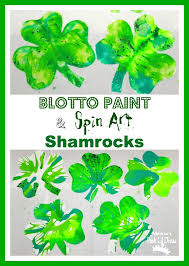 mom to 2 posh lil divas spin art and blotto paint shamrock art