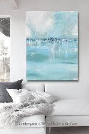 blue and green home decor original art abstract painting coastal wall decor sea blue green
