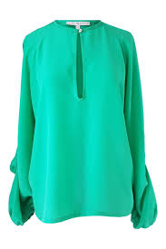 green silk blouse silk blouse with voluminous sleeves in emerald green