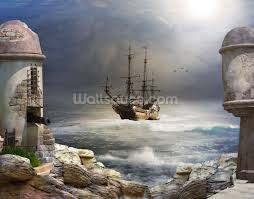 pirate wall mural todosobreelamor info pirate wall mural pirate ship at sea wallpaper wall mural wallsauce usa