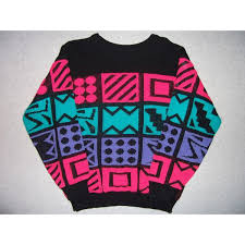 1980s colors vintage hipster 1980s 1990s geometric bright colors sweater 80s