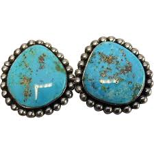 turquoise earrings turquoise earring navajo american sterling clip
