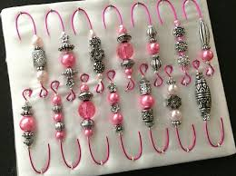 antique silver and pink pearl beaded ornament hook hangers