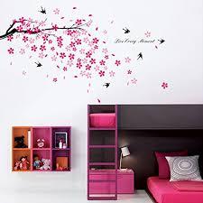 sticker mural chambre fille walplus stickers muraux fleurs roses hirondelles décor pour chambre
