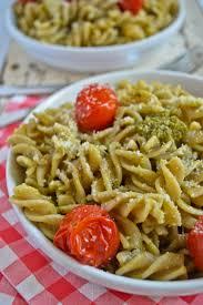 pesto pasta salad with asparagus u0026 roasted tomatoes
