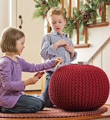 the funky monkey giveaway plow amp hearth hand knitted pouf