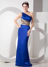 one shoulder royal blue prom dress petite