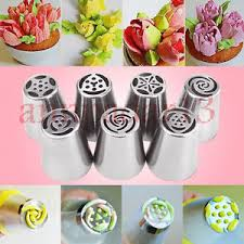 flower decorating tips 7pcs russian flower icing piping nozzles tips pastry cake diy