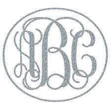 monogram letter stickers interlocking monogram car decal w glitter vinyl potty
