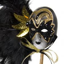 feather masks carnival feather mask black gold 75 0896bk