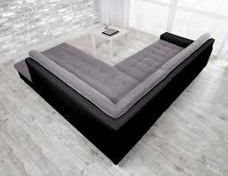 canapé d angle carré java canapé d angle droit 6 places tissu gris et simili noir