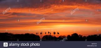 New Jersey State Flag Colors Sunset On Flag Plaza Liberty State Park New Jersey U S Flags