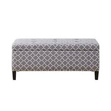 How Do You Spell Ottoman Modern Gray Quatrefoil Upholstered Button Tufted Storage Bench