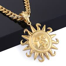 gold pendant fashion necklace images Stainless steel tribe sun necklace unisex jpg
