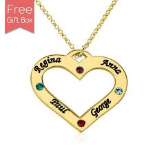custom heart necklace custom heart family name necklace with birthstone in gold plated