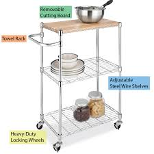 Microwave Cart With Wheels Amazon Com Whitmor Supreme Kitchen Cart With Wheels Wood